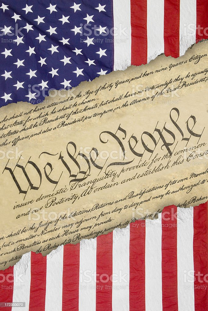 Declaration of Independance dividing an American flag royalty-free stock photo