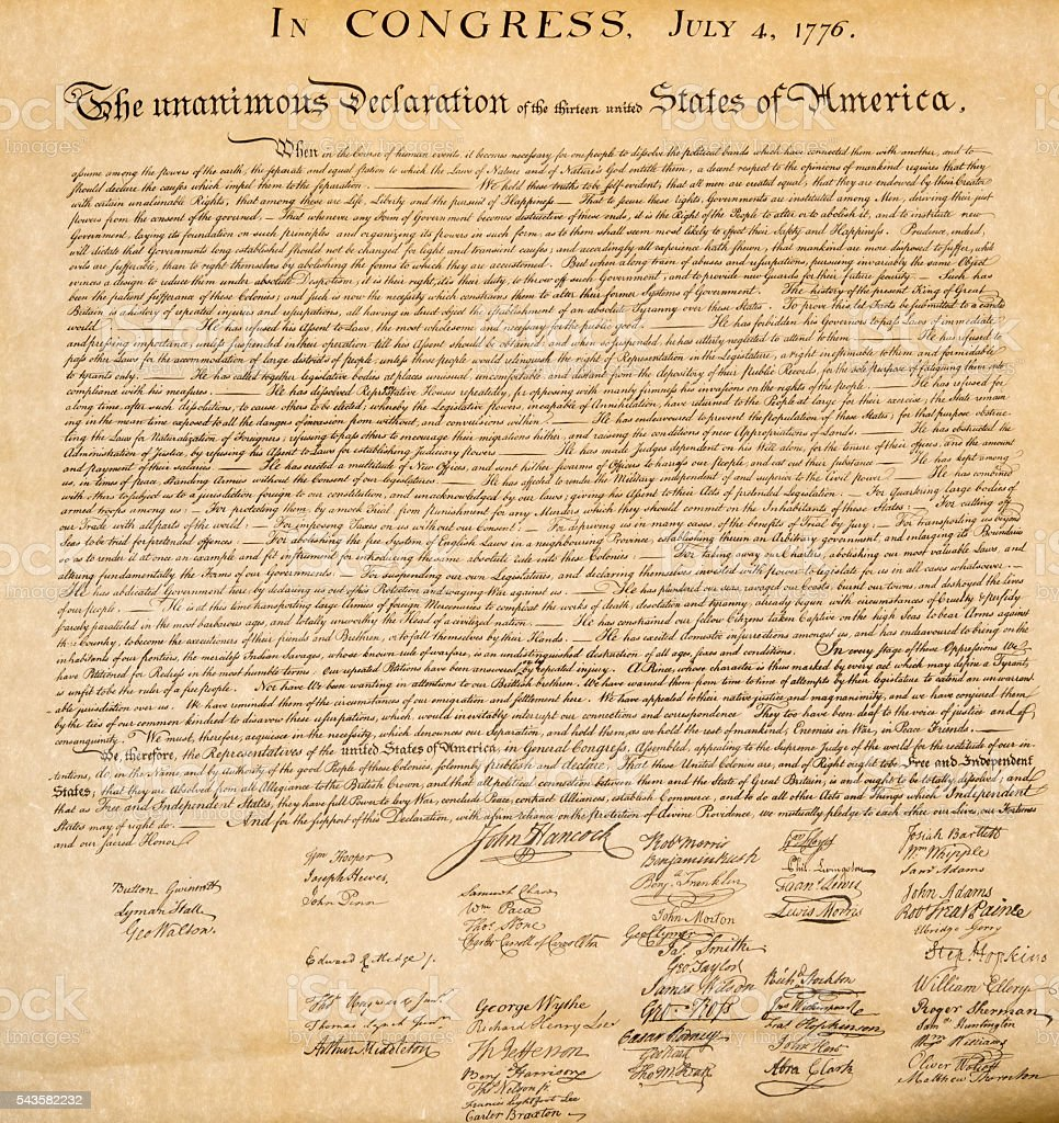 Declaration of independence 4th july 1776 close up stock photo