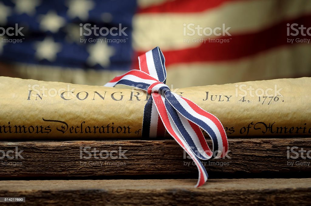 Declaration Of Independence and Ribbon stock photo