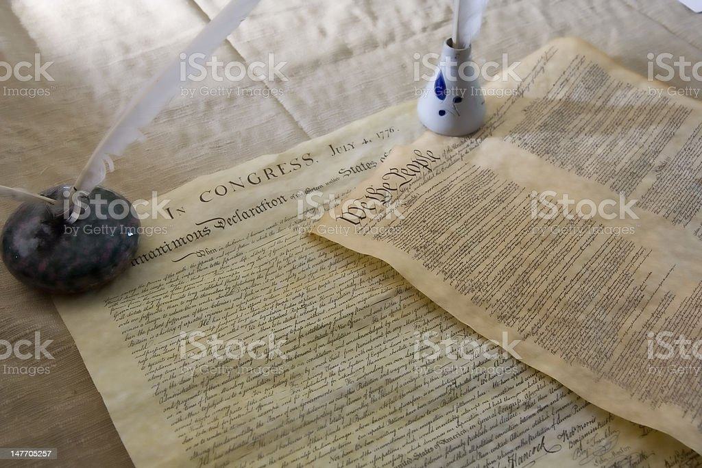Declaration of Independence and United States Constitution royalty-free stock photo