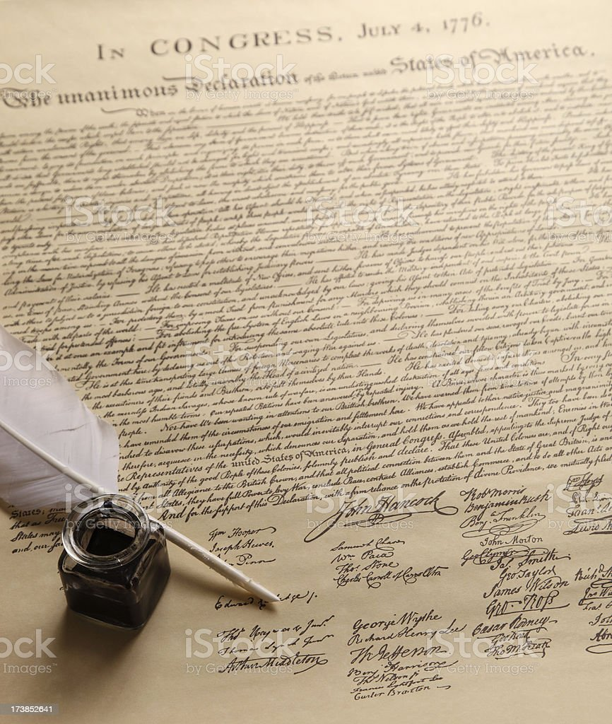 Declaration of independence document stock photo