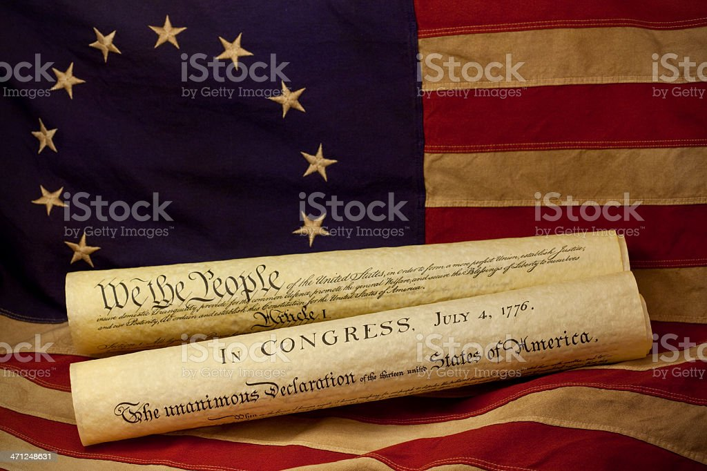 Declaration of Independence on American Colonial Flag stock photo