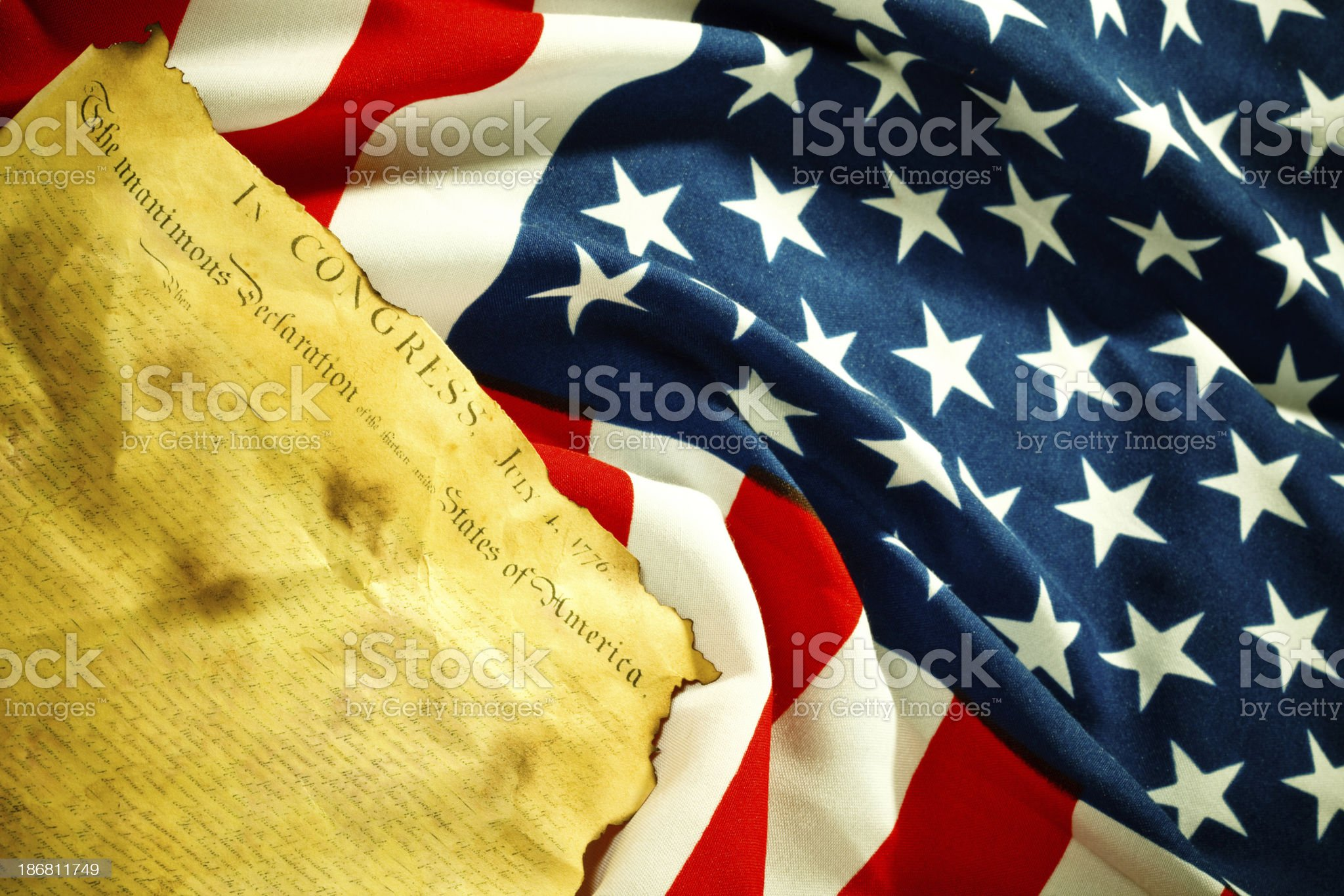 Declaration of Independence on grunge american flag (xxxl) royalty-free stock photo