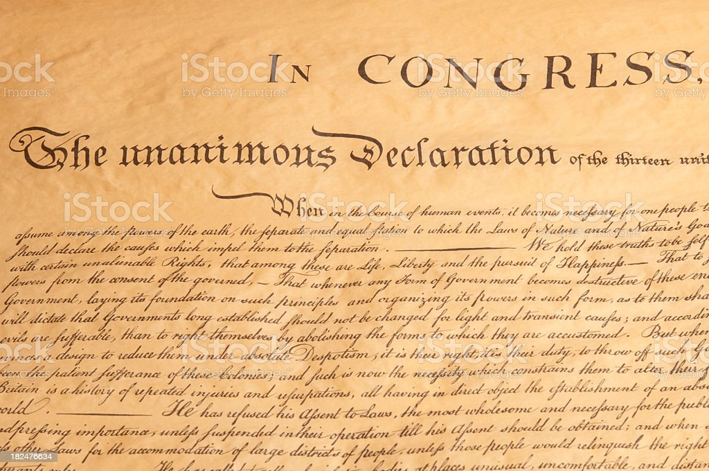 US Declaration of Independence royalty-free stock photo