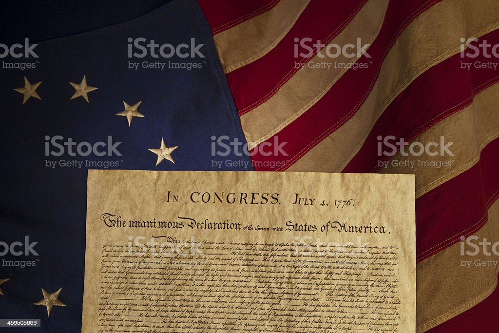USA Declaration of Independence Replica on Grungy Betsy Ross Flag stock photo