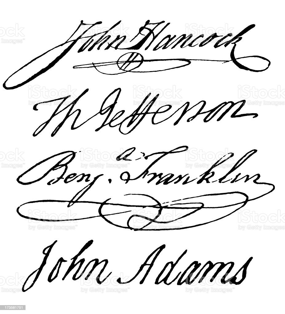 Declaration of Independence Signatures stock photo