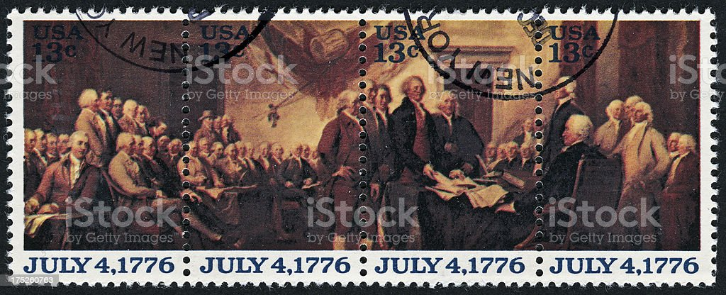 Declaration Of Independence Stamp stock photo