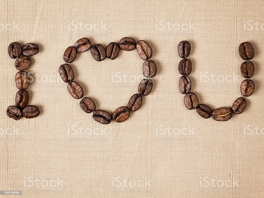 declaration of love with coffee beans royalty-free stock photo