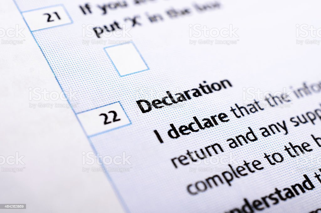Declaration on tax form, contract or legal document in close-up stock photo