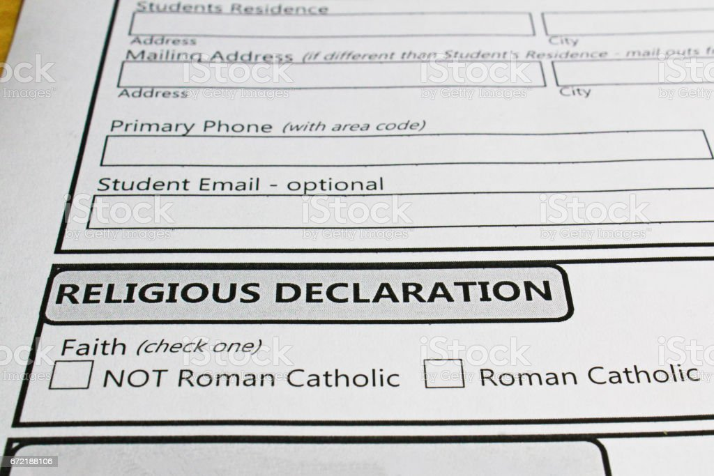 Declaring ones faith in order to attend a catholic school stock photo