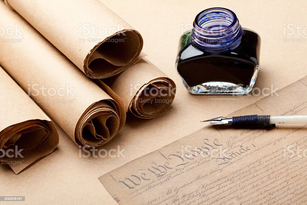 Decleration of independence document, ink  and feather quill pen stock photo