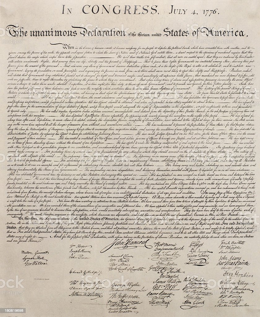 Decleration of independence document,US stock photo
