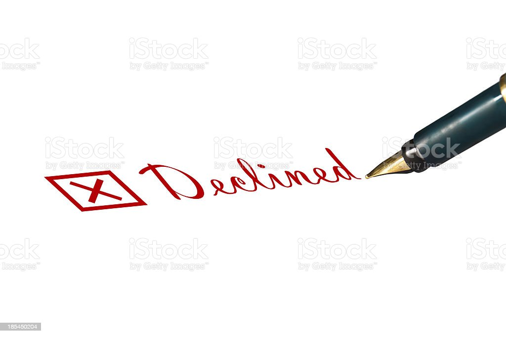 Declined concept in hand writing stock photo