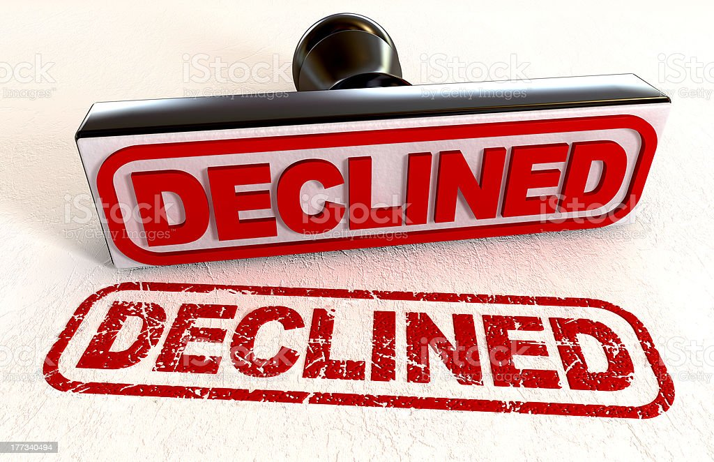 Declined Rubber Stamp stock photo