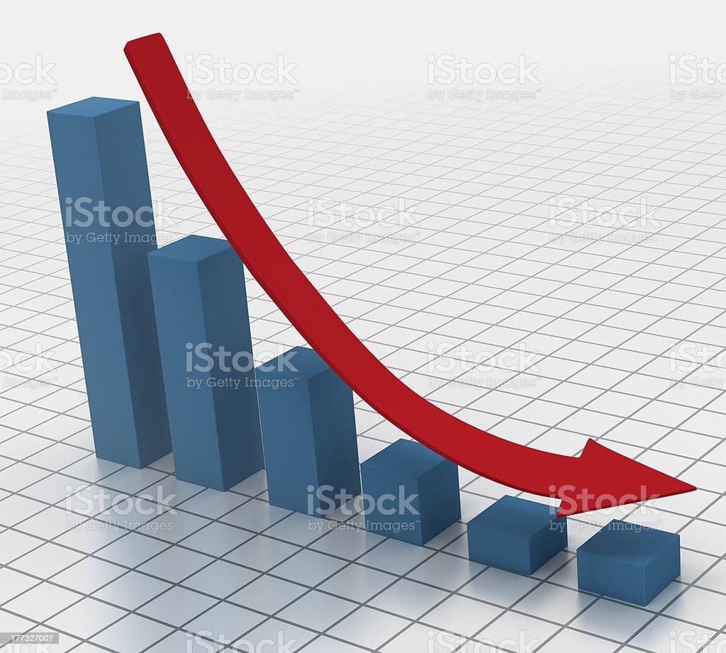 Declining bar chart with arrow stock photo