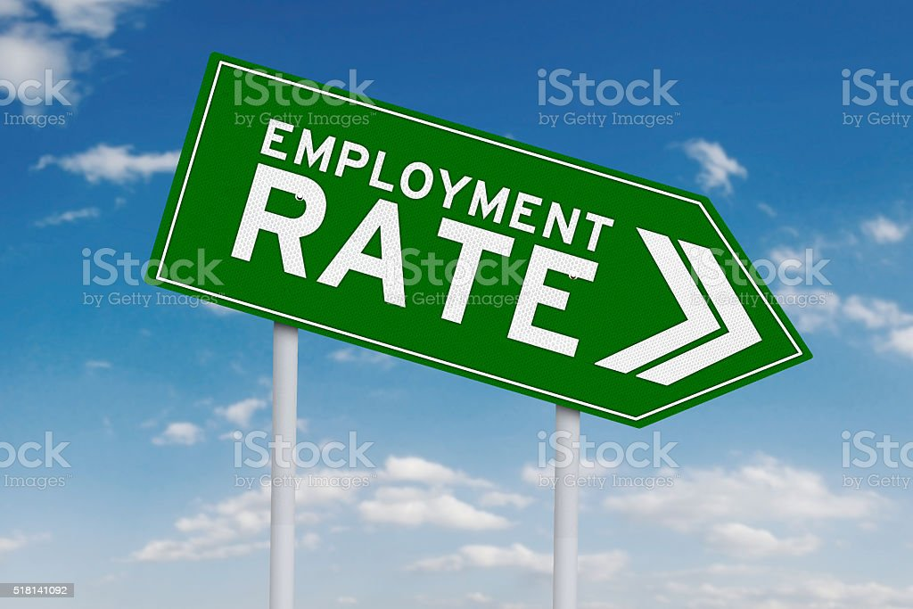 Declining employment rate with arrow sign stock photo