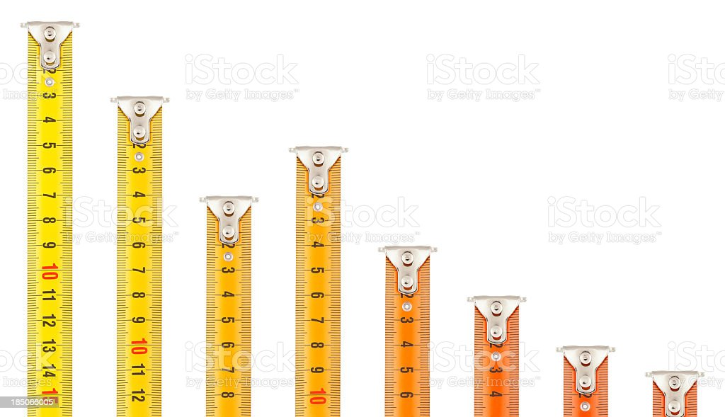 Declining Graph - Tape Measures royalty-free stock photo
