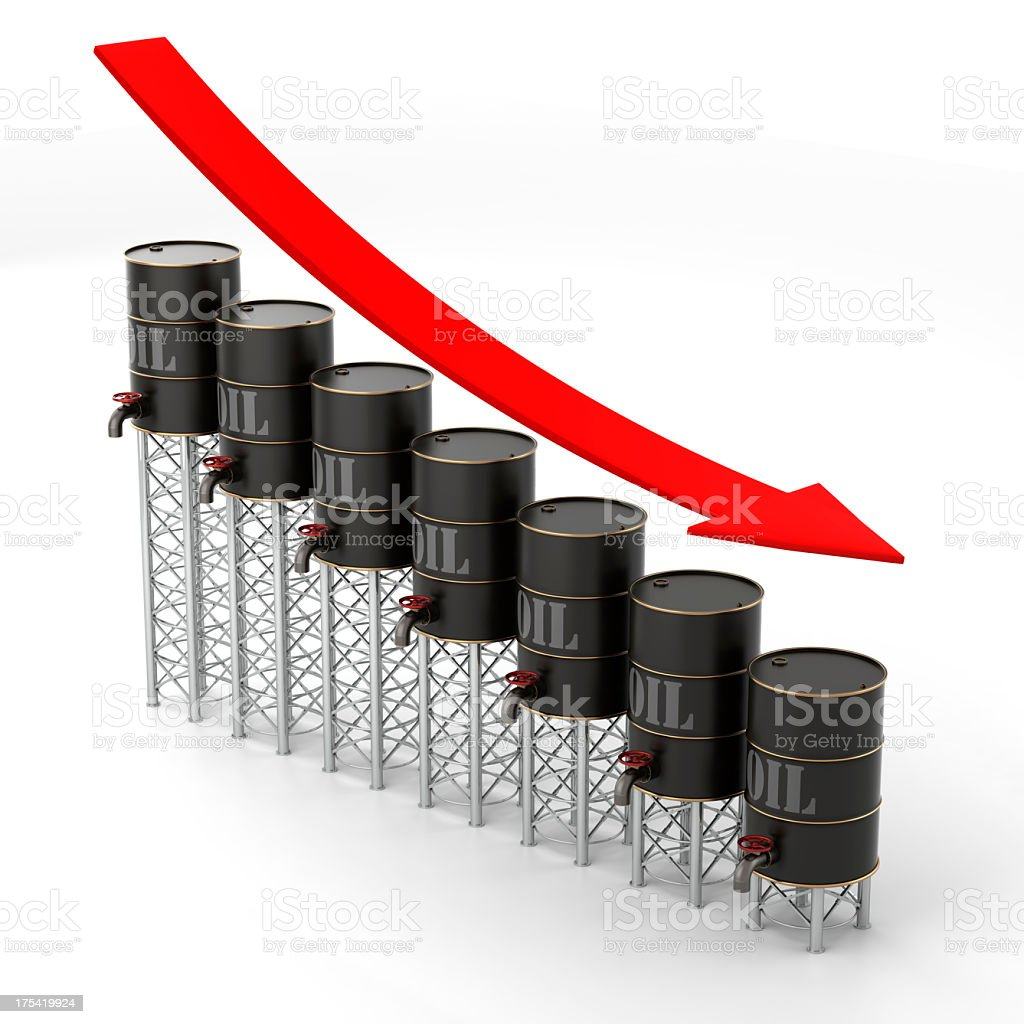 Declining oil cans showing the falling prices stock photo