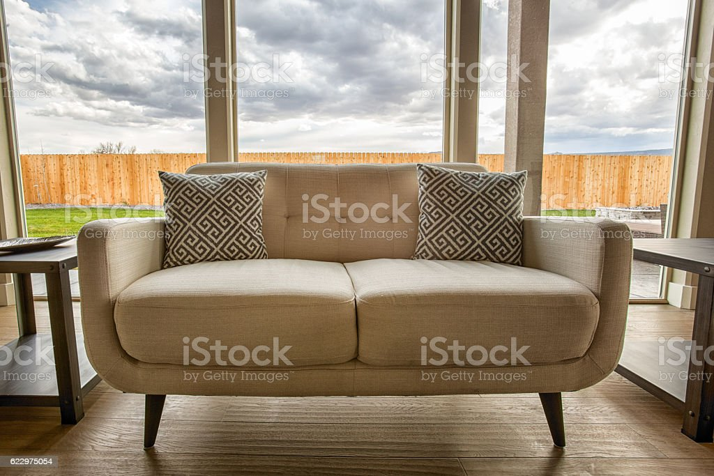 HDR Deco Couch in Trendy Home stock photo