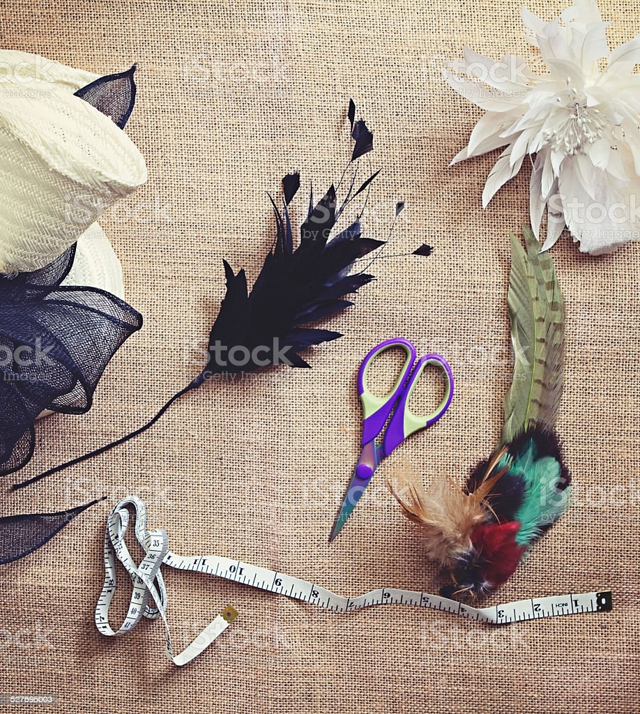 Deconstructed millinery materials and tools stock photo