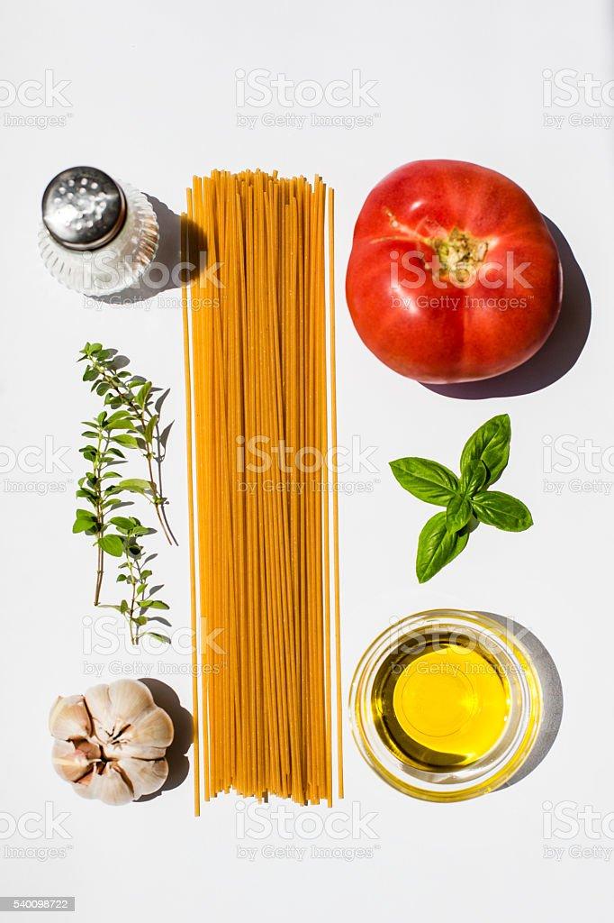 Deconstructed Spaghetti stock photo