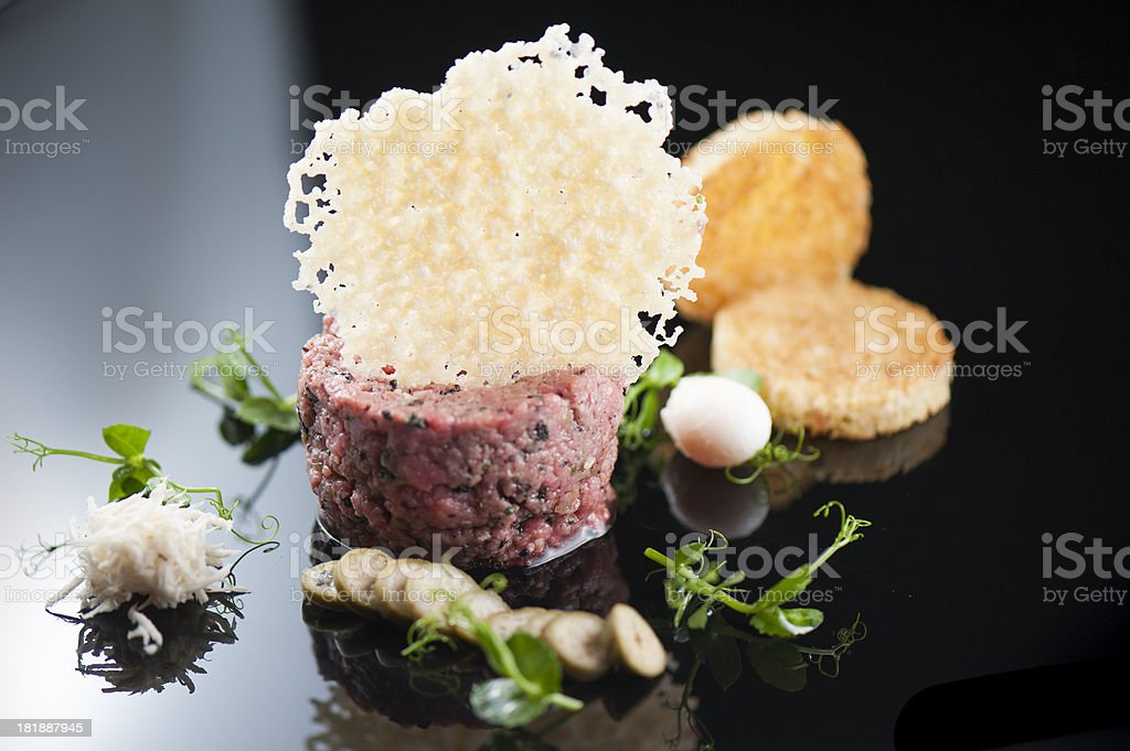 Deconstructed steak tartare stock photo