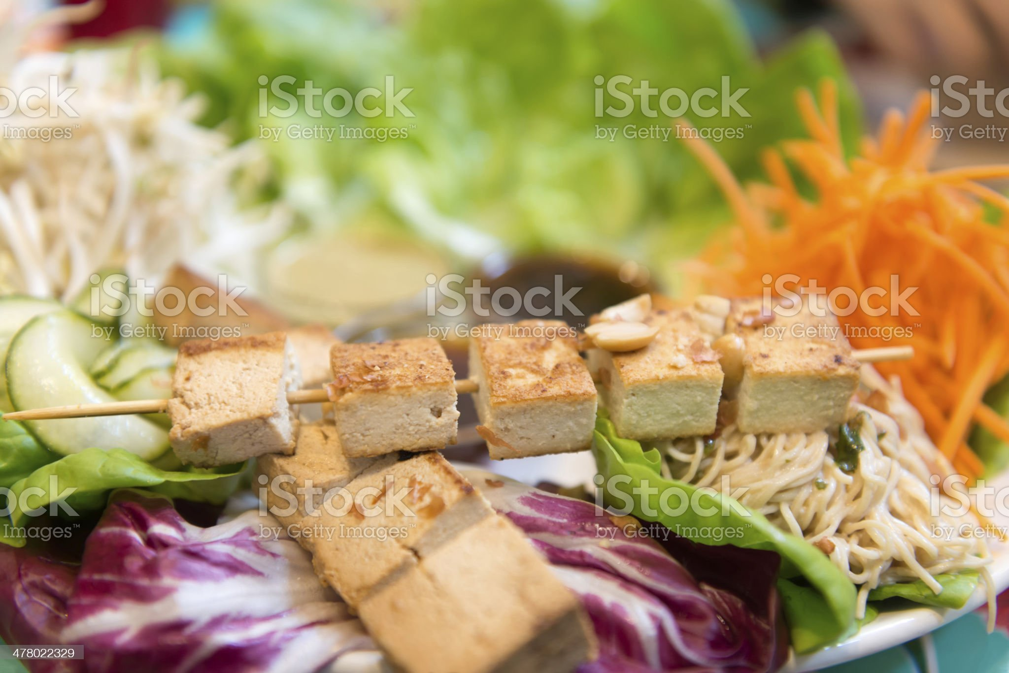 Deconstructed Veggie Wraps - Tofu, Lettuce, Noodles & Dipping Sauce royalty-free stock photo