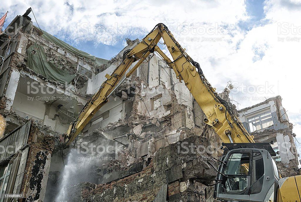 Deconstruction of a building stock photo