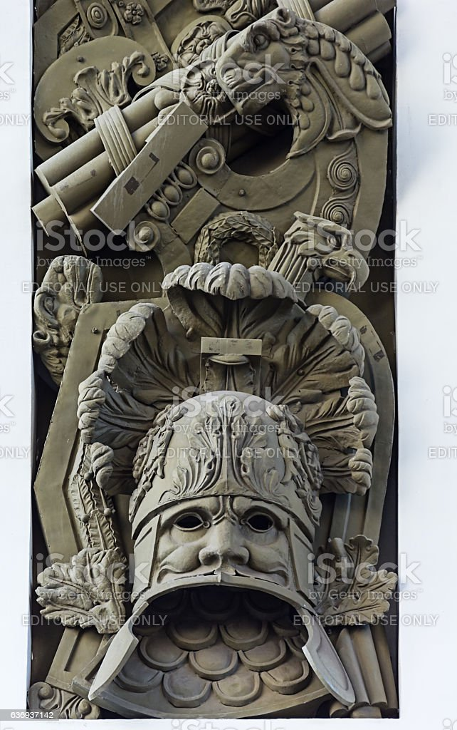 decor element on the arch of the General Staff building stock photo