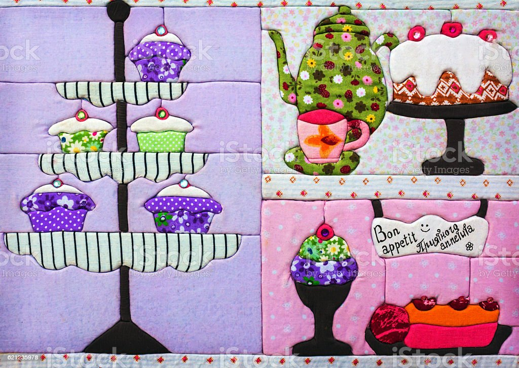 decor fabric for the kitchen with sweets. bon appetit . stock photo