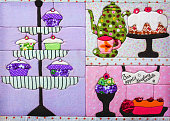 decor fabric for the kitchen with sweets. bon appetit .