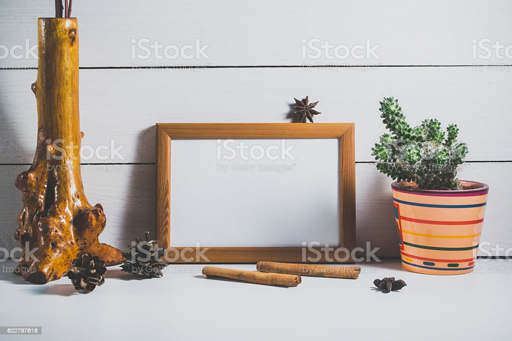Decor from a frame and a cactus stock photo
