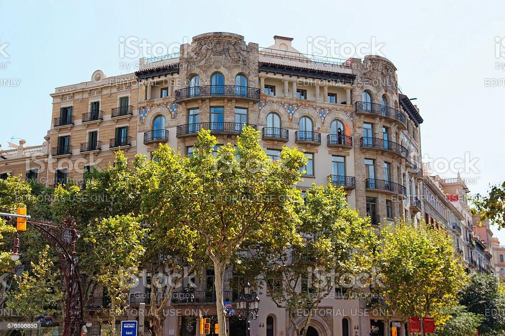 Decor of Building on Passeig de Gracia 33 in Barcelona stock photo