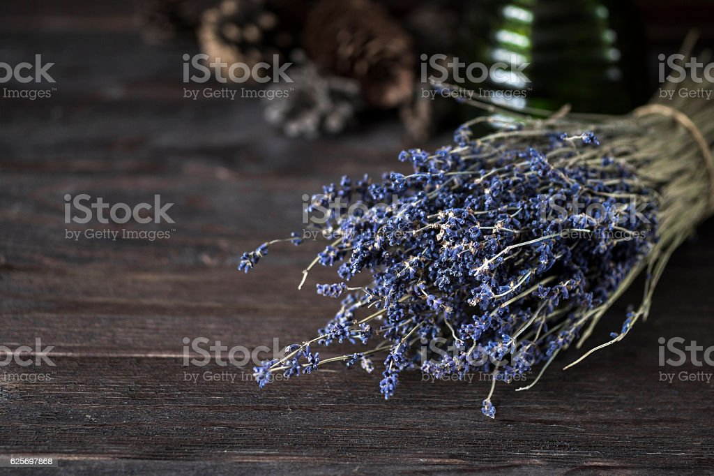 decor with bouquet of dried lavender stock photo