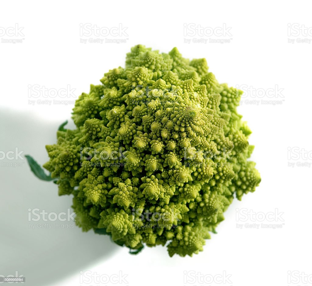 Decorate broccoflower top view - brocolli isolated on white background stock photo
