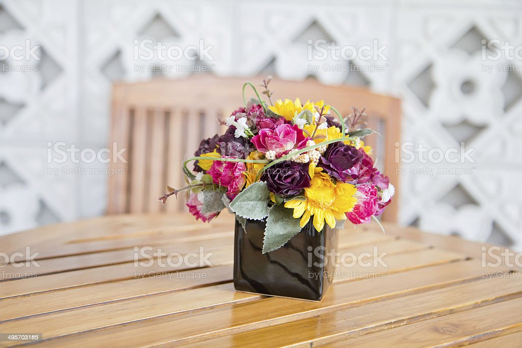 decorate flower on wooden table royalty-free stock photo