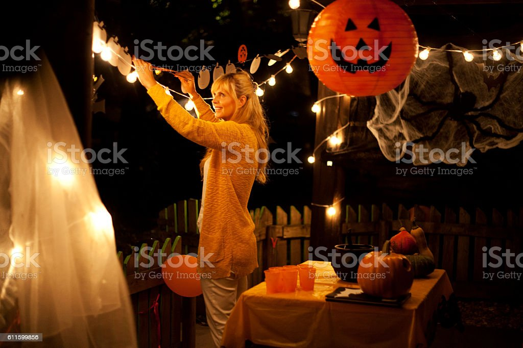 Decorate house for Halloween stock photo