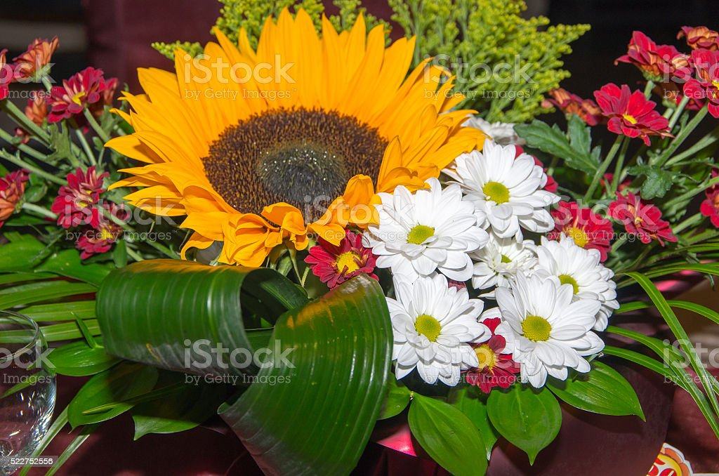 Decorate the table with flowers. stock photo