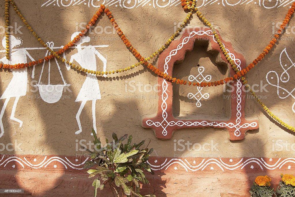Decorated adobe mud wall stock photo