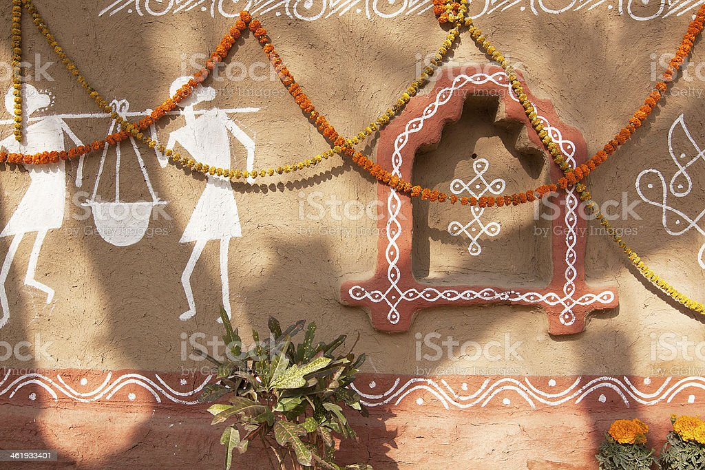 Decorated adobe mud wall stock photo