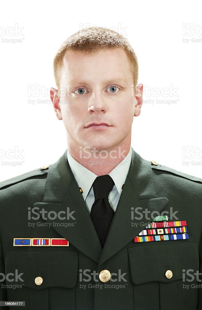 Decorated American Soldier with Class A Uniform stock photo