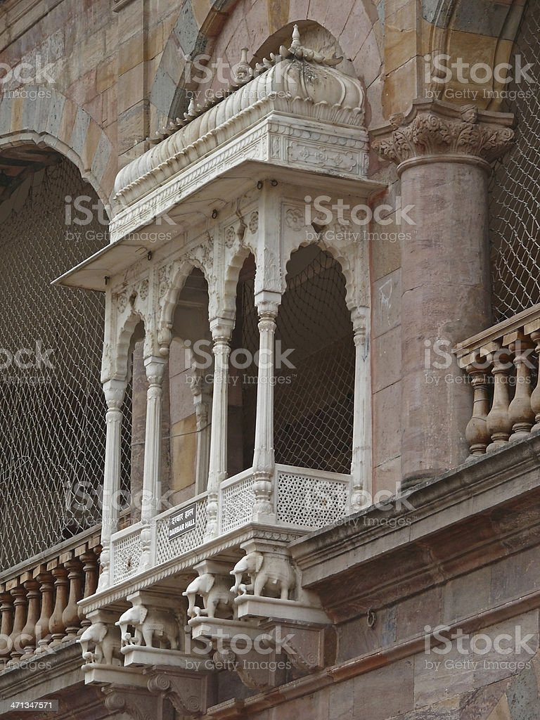 Decorated arched window in Indore Palace stock photo