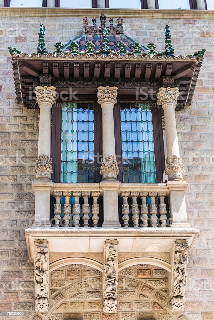 Decorated balcony in Barcelona stock photo
