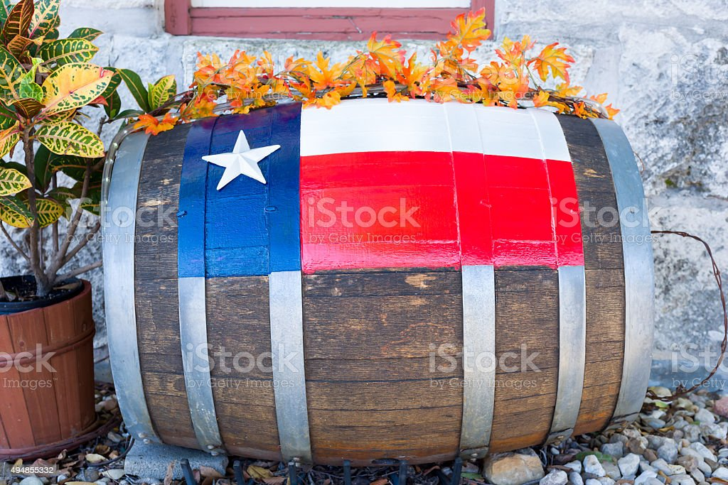 Decorated Barrel in Front of a Texas Building stock photo