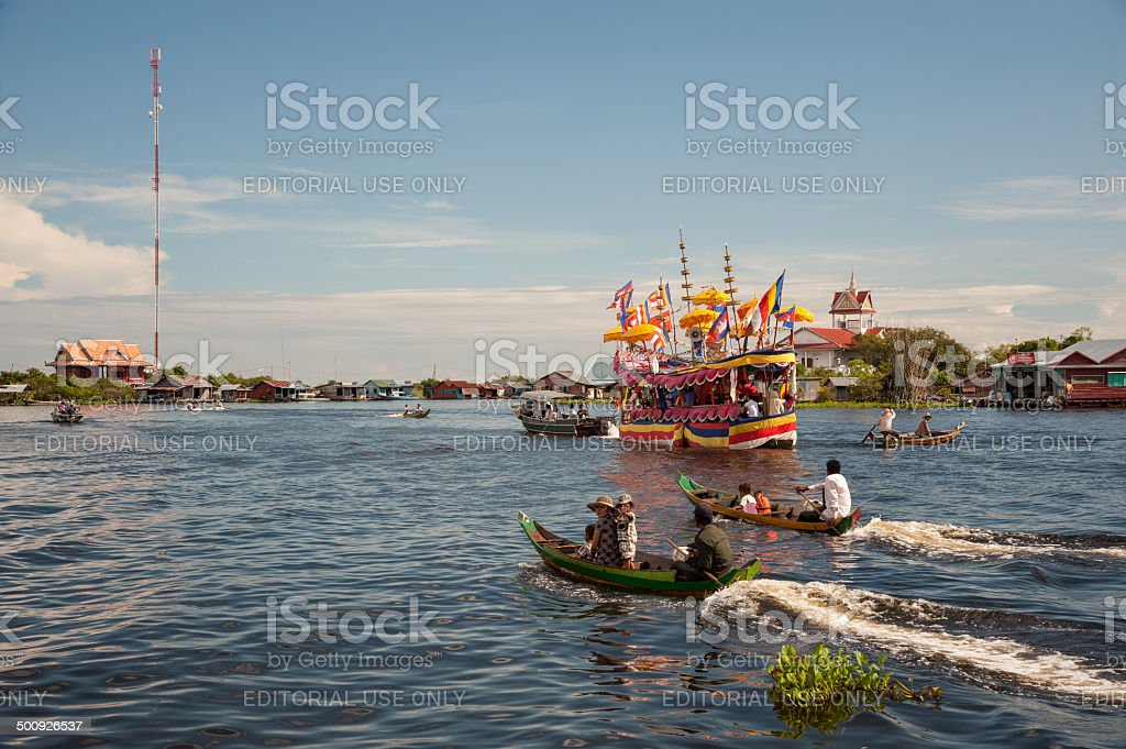 Decorated boat for a Buddhist festival stock photo