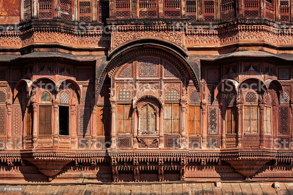Decorated carved windows in Rajasthan, India stock photo