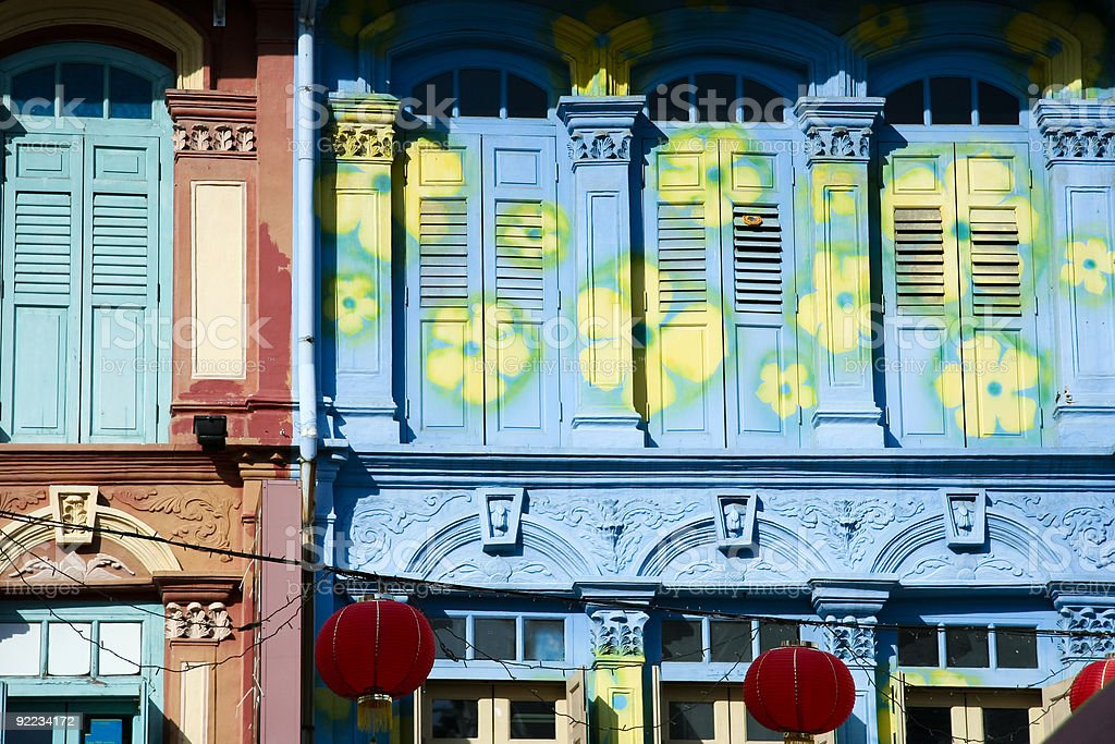 decorated chinatown shop houses singapore royalty-free stock photo