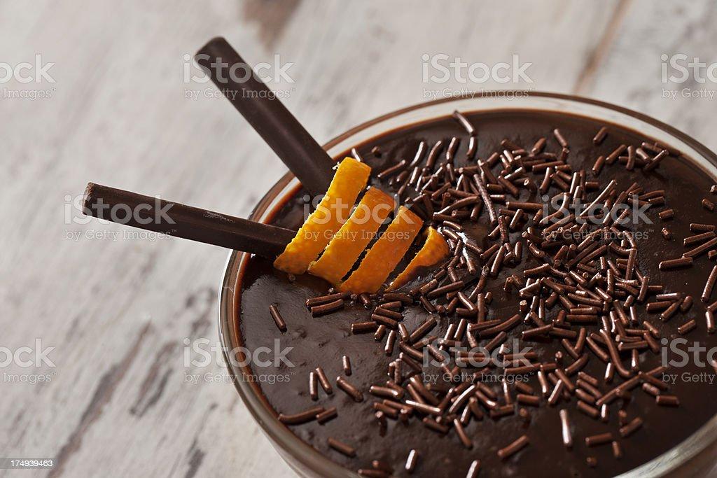 Decorated Chocolate Pudding stock photo