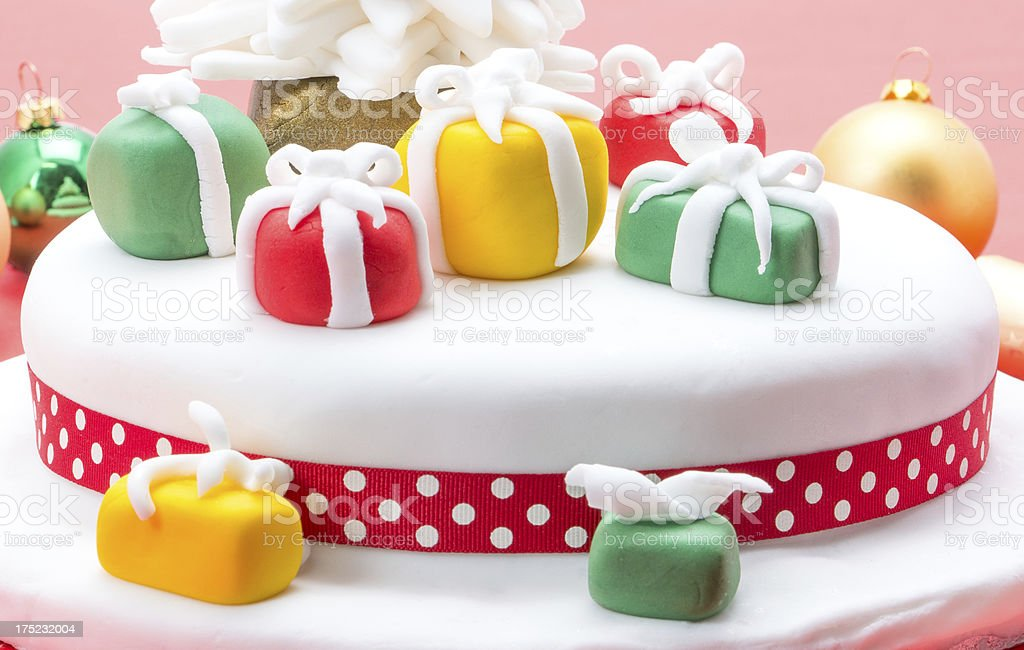 Decorated Christmas cake royalty-free stock photo