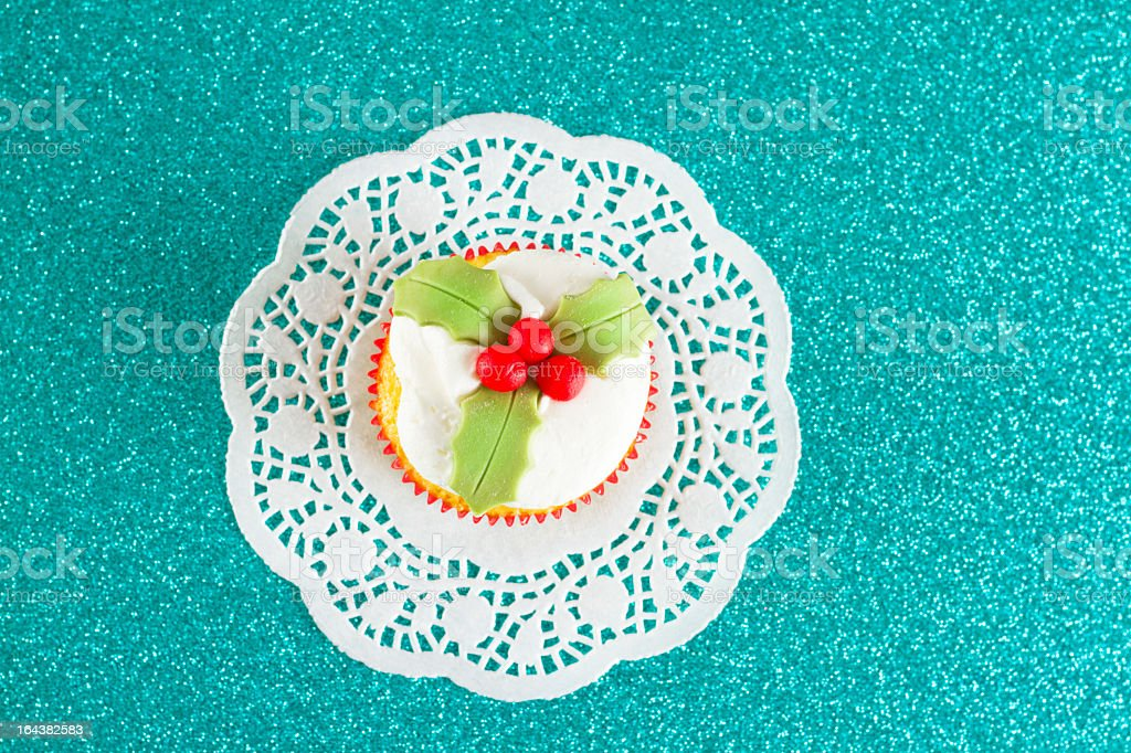 Decorated Christmas Cupcake royalty-free stock photo